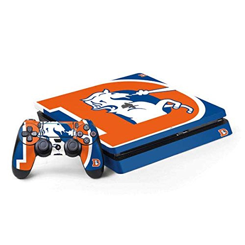 Skinit NFL Denver Broncos PS4 Slim Bundle Skin - Denver Broncos Retro Logo Design - Ultra Thin, Lightweight Vinyl Decal Protection