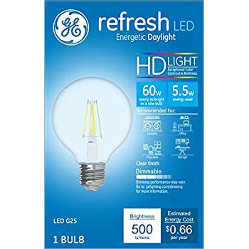 Ge Lighting 36857 Clear Finish Light Bulb Dimmable Led G25