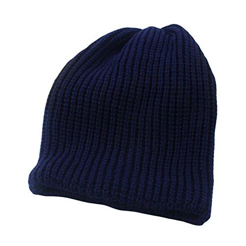 Da.Wa Cálido en Otoño Invierno de Hat Gorro de Lana Sombrero Caliente Unisex Azul Oscuro