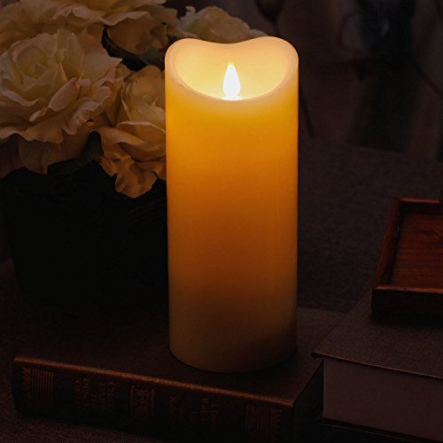 3D Moving Flame Led Candle With Timer, Pillar Flamless Candle for Christmas Decoration, 3.75x9 Inch, Ivory - Fall Wedding Unity Candles