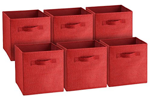 Best at a Glance Fabric Foldable Storage Cubes, Collapsible Square Organizing Bins, Folding Nursery Drawer Basket Cubicles, Cloth / Toy cube cubby Woven containers, 2 Handles, 6 pack (Bright - Storage Burgundy
