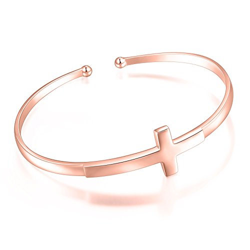 S925 Sterling Silver Engraved Faith Hope Love Inspirational Cuff Cross Bangle for Women Sister Girl (Style 1 Rose Gold Plated) ()