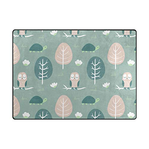 Owl Turtle Malachite GreenRugs Area Rugs Reggie Artwork Collection for Living Room, Bedroom, and Dining Room