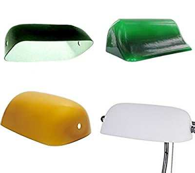 Upgradelights White Green Amber Duck Bill Glass Bankers Lamp Shade Standard Replacement Lampshade