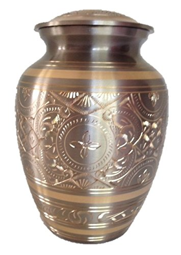 Pet Cremation Urn, Pet Funeral Urn, Solid Brass Platinum and Gold ash container-7'', holds 70 pounds