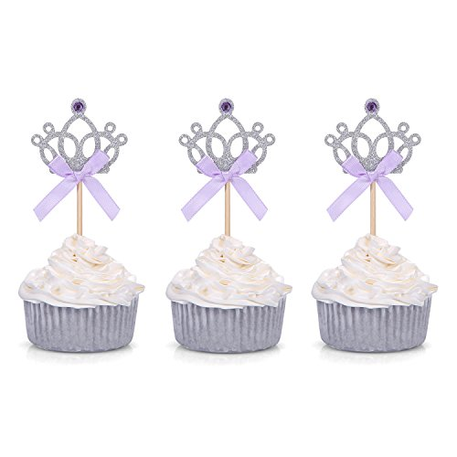 Set of 24 Silver Tiara Cupcake Toppers Kids' Party Picks with Purple Bows - by Giuffi -