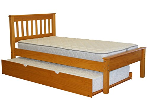 Trundle Honey - Bedz King Mission Style Twin Bed with a Twin Trundle, Honey