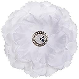 Locker Flower Magnet - White Peony Jeweled