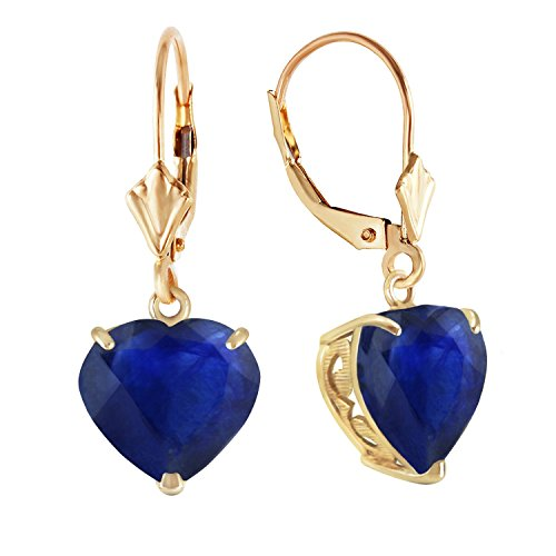 8.6 Carat 14k Solid Gold Leverback Earrings with Natural 10mm Heart Shaped Sapphires