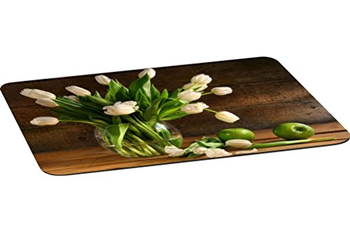 Apple Rustic (Rikki Knight White Tulips In Glass Vase Rustic Wood Green Apples Large Non-Slip Fabric Top Table Place Mats with Rubber Backing (set of 4))
