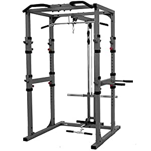"XMark Fitness Heavy Duty 11-Gauge 2"" X 3"" and 2"" X 2"" Steel Mainframe Multi-Functional Power Cage With Lat Pulldown and Low Row Attachment Accommodates Standard and Olympic Plate Weights"