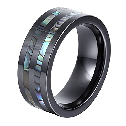 GER 8mm Black Ceramic Engagement Rings Wedding Band with Abalone Shell Inlay Polished Finish Step Edge Anniversary Gift Size (Abalone Inlay Band Ring)