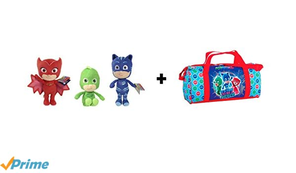 PJ Masks (Bandai) - Pack 3 peluches calidad super soft Buhíta 20cm (rojo) Gatuno 20cm (azul) Gekko 20cm (verde) + Bolsa deporte 50cm 55490: Amazon.es: ...