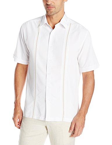 Cubavera Mens Contrast Insert Stitching Short Sleeve Woven Shirt,Bright White,Large