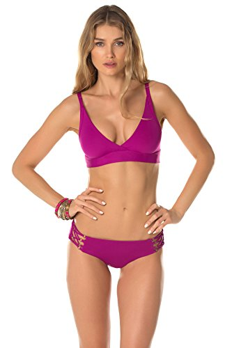 Becca by Rebecca Virtue Women's Hourglass Banded Triangle Bikini Top Mulberry D