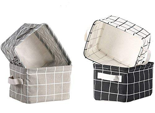 Lannu Canvas Storage Bins Basket Fabric Cloth Linen Blend Baskets Organizers Classical Color for Nursery Baby Toy, Makeup, Book, Home Decor,Small,Set of 4 (Small Baskets)