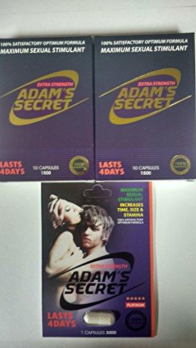 ADAM'S SECRET 1500 100% Satisfactory Optimum Formula Maximum Sexual Stimulant -2 Pack (10 Capsules Per Pack) Plus ADAM'S SECRET 3000 Single (1 Capsule) With Adam's Secret Original Inner - Satisfactory Store