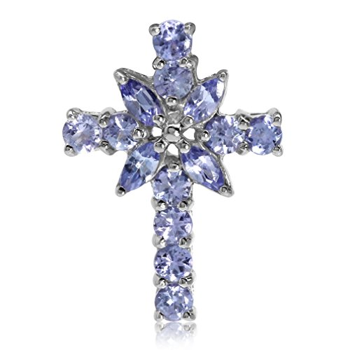 Tanzanite Cross Necklace (1.1ct. Natural Tanzanite 925 Sterling Silver Cross Pendant)
