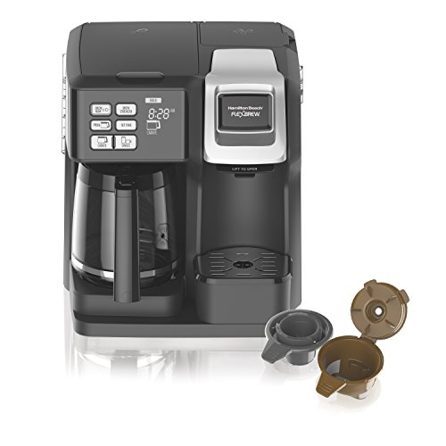Hamilton Beach (49976) Coffee Maker, Single Serve & Full Coffee Pot, Compatible with Single-Serve Pods or Ground Coffee, Programmable, FlexBrew, Black