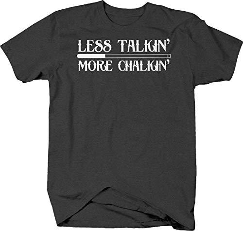 Less Talkin' More chalkin' Funny Pool Billiards Game Solid Stripe Tshirt 3XL Gray