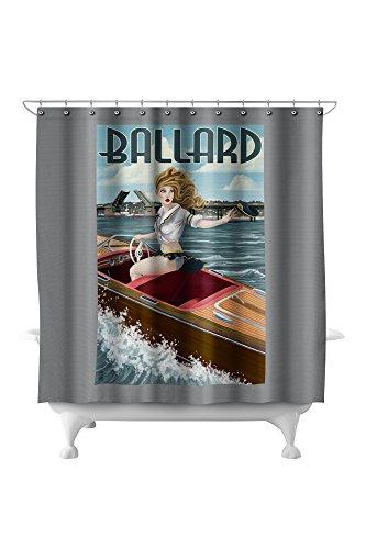Ballard, Seattle, Washington - Pinup Girl Boating (71x74 Polyester Shower Curtain) ()