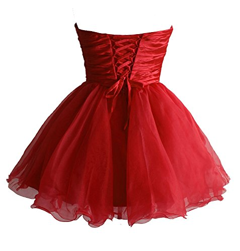 Cocktail Edaier Party Rot Damen Mini Heimkehrkleid kurze Wulstige Kleid XrwIqzrF