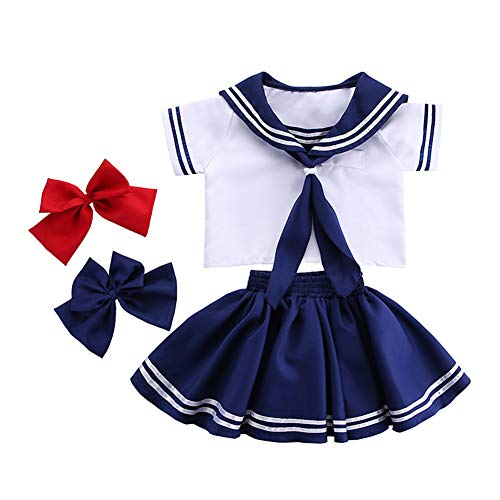 YABOO Kids Sailor Costume Japanese Children School Uniform Sailor Moon Cosplay Costume (Girls, XS-Height 90-105cm)]()