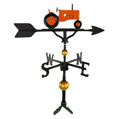 Montague Metal Products 32-Inch Deluxe Weathervane with Orange Tractor Ornament by Montague Metal Products