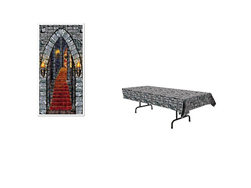 MEDIEVAL Party DECORATIONS - CASTLE Entrance DOOR Cover & STONE Tablecloth - MIDDLE Ages DECOR Parties (Medieval Party Decorations)