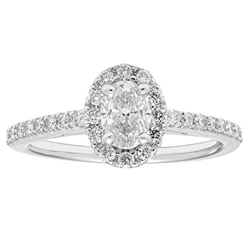 14K White Gold .82 Ctw. Oval and Round Cut Diamond Engagement Ring (VS2-SI1) by Boston Bay Diamonds