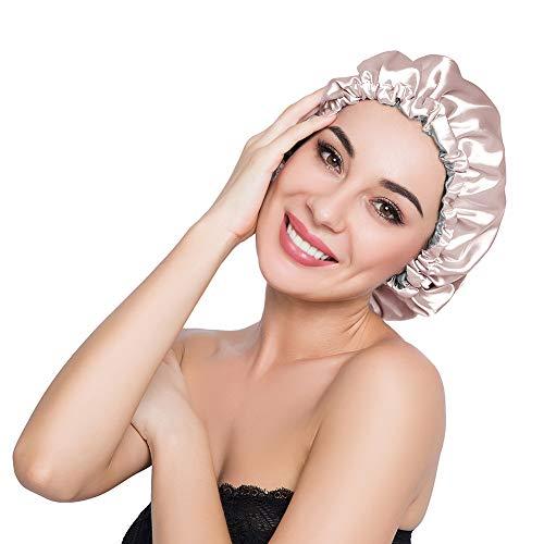 - ELIHAIR Stain Bonnet Silk Sleep Cap Adjustable Satin Cap for Night Sleeping Hair Bonnet Reversible Double Layer Champagne/Grey