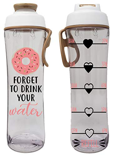50 Strong BPA Free Reusable Water Bottle with Time Marker - Motivational Fitness Bottles - Hours Marked - Drink More Water Daily - Tracker Helps You Drink Water All Day -Made in USA (Donut, 24 oz.)