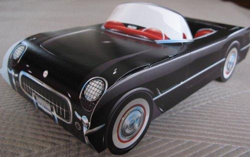 6 Corvette Cardboard Cars RED & BLACK Food Dish or Snack Ser
