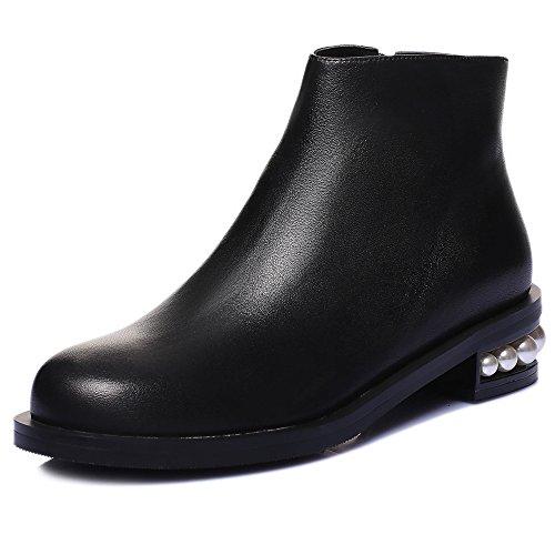 Ni Sju Ekte Skinn Kvinners Runde Toe Lave Chunky Hæl Perler Håndlaget Komfort Tilfeldig Ankel Boots Black