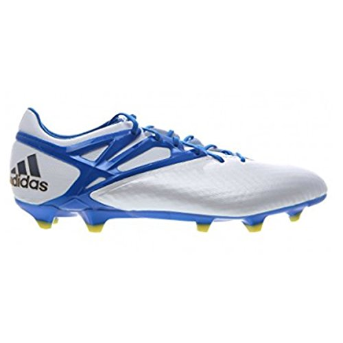 adidas Mens Messi 15.1 FG/AG Firm Ground/Artificial Grass Soccer Cleats 9 US, White/Prime Blue/Black (Best Cleats For Grass)