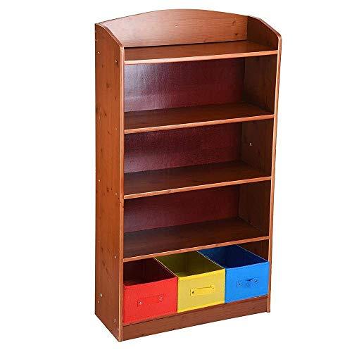 (LeeMas Inc 5 Tier Brown Wood Bookshelf Bookrack Bookcase w/ 3 Non-Woven Bins Storage Organizer Shelving Home Office Furniture)