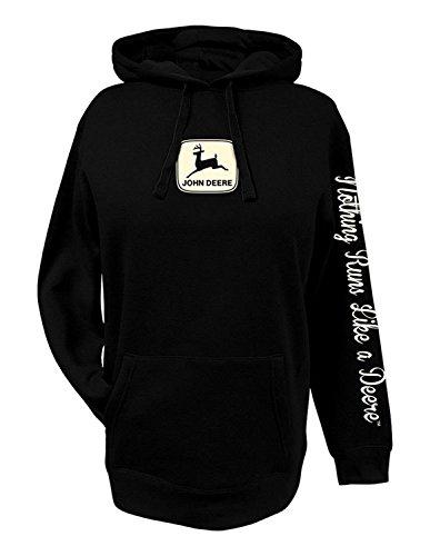 John Deere Womens Hoodie Black NRLAD-Large (Deere Shirt John Ladies)