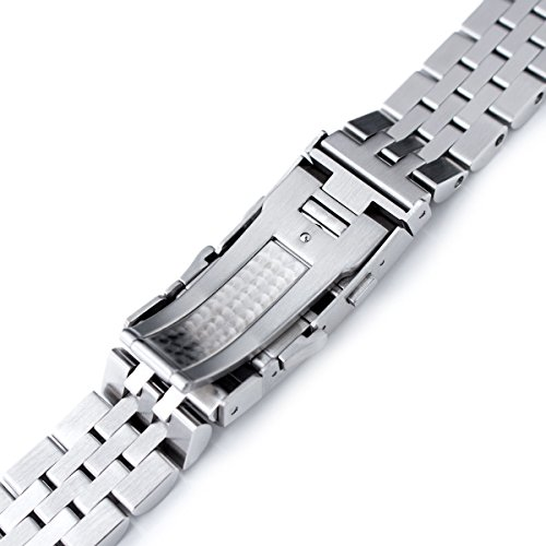 22mm ANGUS Jubilee 316L SS Watch Bracelet Straight End 1.8 Universal, Ratchet Buckle Brushed by Seiko Replacement by MiLTAT (Image #6)