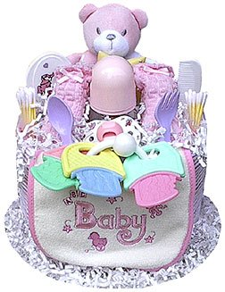 One Tier Girl Diaper Cake