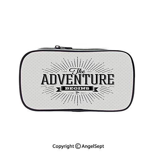 Two Big Pockets for Executive Fountain Pen,Retro Beginning of The Adventure Motivational Quote on White Backdrop Vintage Decorative Black White 5.1inches,Multi-Functional 72 Slots Colored Pencil Case ()