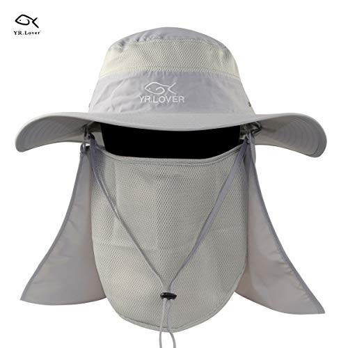 YR.Lover New Fishing Outdoor Sun Hat with Removable Neck Face Flap, Fishing Hat Safari UPF 50+ UV Sun Protection Bucket Cap, Mesh Boonie Hat for Outdoor Sports & Travel for ()