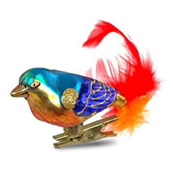 Clip Vogel Blau Gold Christbaumschmuck Aus Glas Amazon De Kuche