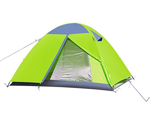 E EVERKING 2 Person Double Layer Camping Tent, Double Person 4 Seasons Waterproof Backpacking Tent, Lightweight Tents for Camping Hiking with Carrying Bag (Green-A)