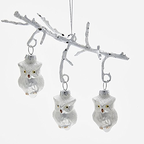 Kurt Adler 7 Inch Owls on Branch Glass Christmas Ornament
