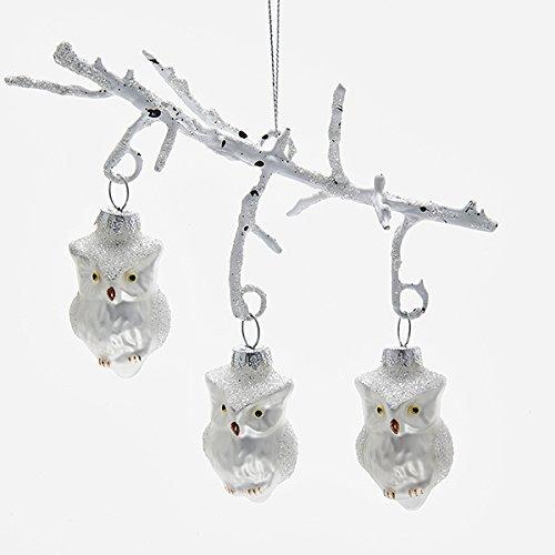 Kurt Adler 7 Inch Owls on Branch Glass Christmas Ornament
