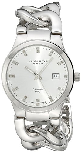 Akribos XXIV Women's AK608SS Impeccable Diamond Swiss Quartz Twist Chain Bracelet Watch