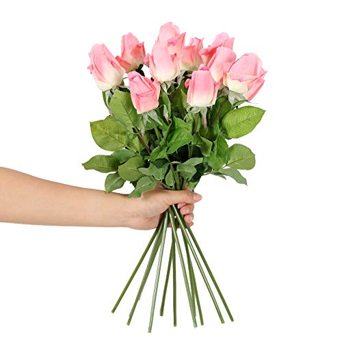 N YONGNUO 12pcs Latex Moisturizing Roses of Real Touch Natural Artificial Flowers Bud Pink Roses Realistic Color for Wedding/Home Decor or As a Gift to Wife/Mother/Friend(19 Inch-Deep Pink)