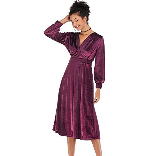 Women Solid Cross V-Neck Dress Velvet Long Sleeve