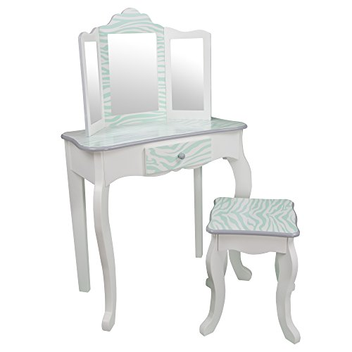 Teamson Kids - Fashion Prints Girls Vanity Table and Stool Set with Mirror - Zebra (Aqua Blue / White) (Aqua Zebra)
