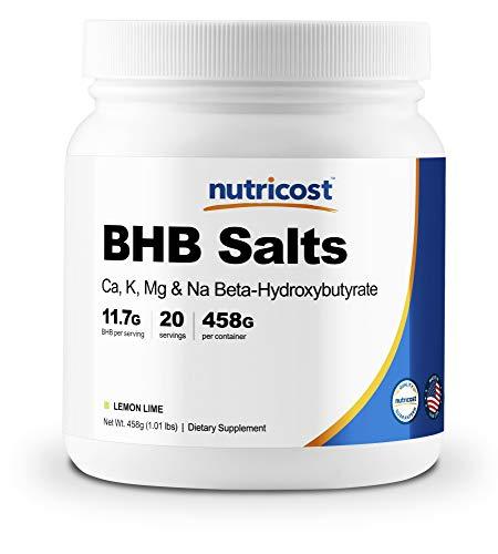 (Nutricost Exogenous Ketone Salts Beta-Hydroxybutyrate (BHB) Lemon-Lime 20 Servings (4-in-1 Ca, K, Mg, Na))